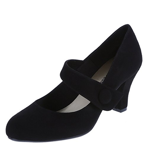 Lower East Side Women's Black Suede Women's Kim Button Mary Jane 11 Regular