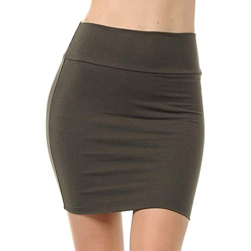 Women Lady's Solid High Waist Classic Simple Stretchy Tube Pencil Mini Skirt Army Green -