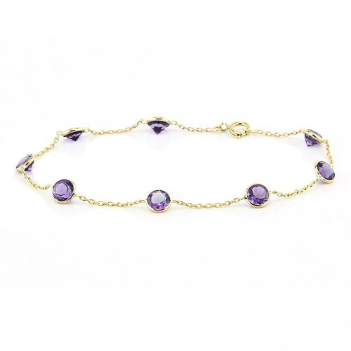 14k Yellow Gold Gemstone Bracelet with Amethyst 7 Inches