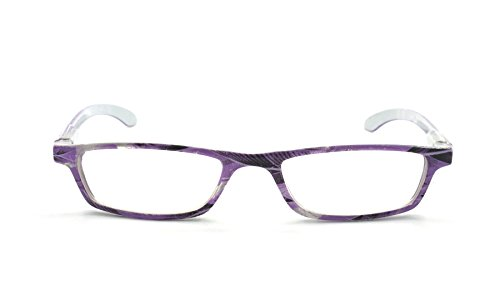 EYE-ZOOM Art Design Readers Spring Hinge Reading Glasses for Men and Women Choose Your Magnification, Purple, 2.25 Strength