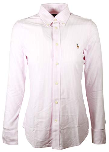 (RALPH LAUREN Polo Womens Classic Fit Oxford Button Down Shirt (Large, BSR Pink/White (Brown Pony)))