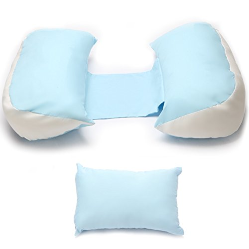 Price comparison product image CHAOXIANG Full Body U Shaped Pillow Polyester Nursing Pillow Nursing Pillow Multifunctional Sleep Side Sleeper Belly Pillow Waist Side Sleeper Winter,  482296cm (Color : Blue)