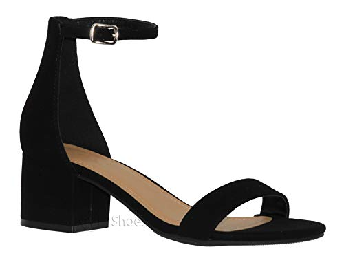 MVE Shoes Chunky Block Heel Dress Sandal Over Toe & Ankle Wrap Strap, Black NB 7.5