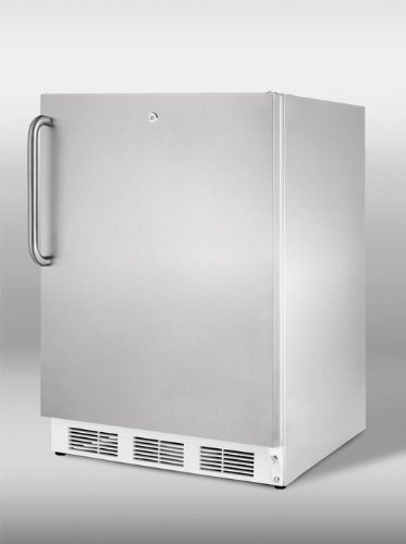 UPC 761101009957, Summit: CT66LCSS 24'' Built-in Compact Refrigerator with Adjustable Wire Shelves, Door Storage, Manual Defrost Freezer, Dual Evaporator, Door Lock and Interior Light: Stainless Cabinet with Pro Handle