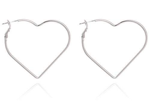 BONALUNA Hear Shaped Gold Plated & Silver Rhodium Plated Hoop Statement Earrings (Shaped Silver Plated)