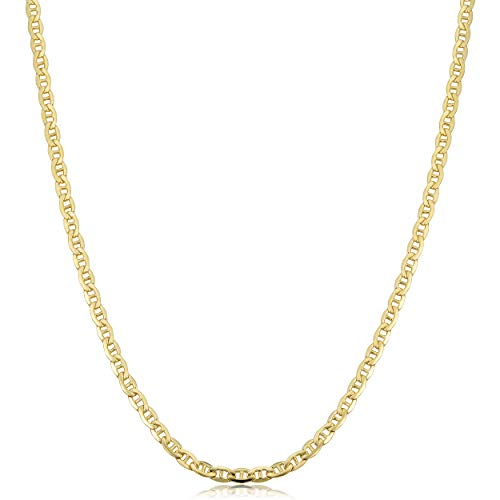 (Kooljewelry 14k Yellow Gold Filled Solid Mariner Link Chain Necklace (3.3 mm, 22 inch))