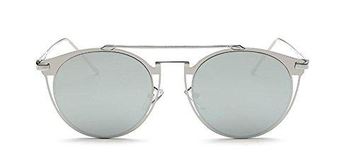 cercle soleil inspirées en lunettes de du Mercure rond métallique retro vintage style Lennon polarisées Blanc wv5St