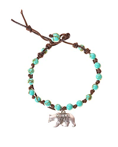 BellaRyann Momma Bear Stainless Steel & Turquoise Howlite Stone Leather Wrap Bracelet