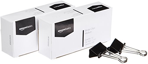 AmazonBasics Binder Paper Clip, Medium, 12 Clips per Box, 2-Pack
