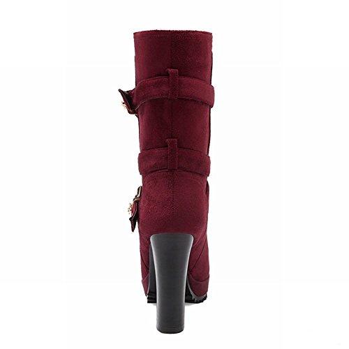 Latasa Moda Donna Nubuck Fibbie Cinghie Piattaforma A Tacco Alto Stivali Jodhpur Rosso