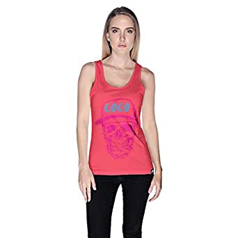 Creo Pink Blue Coco Skull Tank Top For Women - Xl, Pink