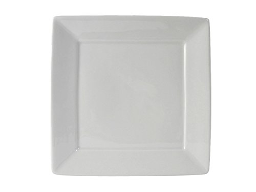 Tuxton BWH-1016 Vitrified China Square Plate, 10-1/8'', White (Pack of 12), Oven-Microwave-Pressure Cooker Safe; Freezer to Oven Safe by Tuxton