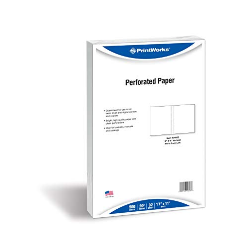 PrintWorks Professional Perforated Paper for Presentaions, Booklets, Manuals, Catalogs and More, 11 x 17, 20 lb, 2 Vertical Perfs 8