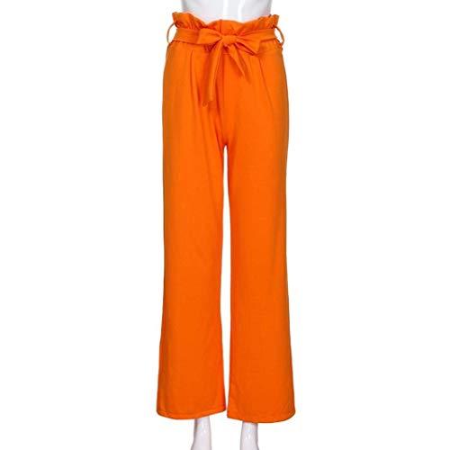 Pantalones De Cintura Hoja Cinturón Stretch Casual Correa Mujer Naranja Con Ancho Alta Altavoz Pantalón Sólido Color Loto rrSdWHx4wq