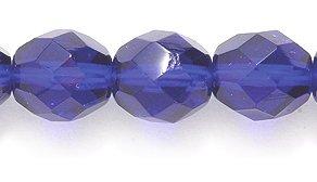 Preciosa Czech Fire 8mm Polished Glass Bead, Faceted Round, Transparent Cobalt, - Beads Faceted Glass 100 Czech