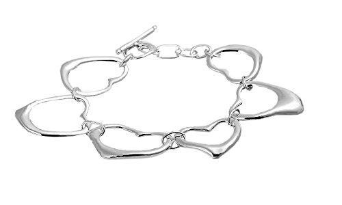 Designer Inspired Open Heart Chain Bracelet 925 Sterling Rhodium