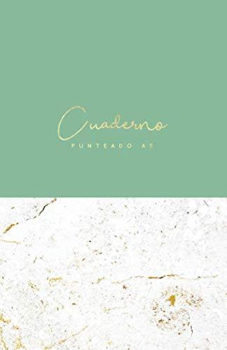 Cuaderno Punteado A5: Cuadrícula de 5 mm | 75 Páginas Dot Grid Bullet Journal | Tamaño Mediano | Mármol y Esmeralda Verde (Cuadernos de Puntos) (Spanish Edition)