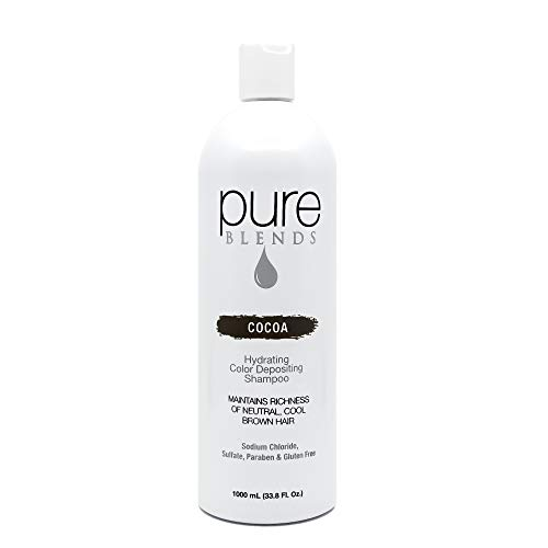 Cocoa Colours - Pure Blends Hydrating Color Depositing Shampoo - Cocoa (Neutral Cool Brown Hair) 33.8 Ounce - Salon Quality