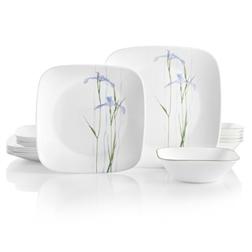 (Corelle 18-Piece Service for 6, Chip Resistant, Shadow Iris Dinnerware Set,)