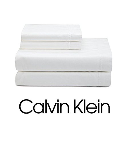 Calvin Klein 4pc QUEEN Sheet Set 100% Combed Cotton Sateen, Solid White