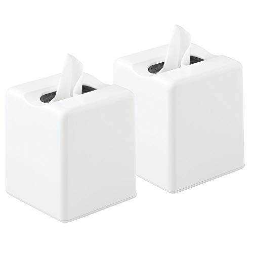 (mDesign Modern Square Plastic Paper Facial Tissue Box Cover Holder for Bathroom Vanity Countertops, Bedroom Dressers, Night Stands, Desks and Tables - 2 Pack - White)