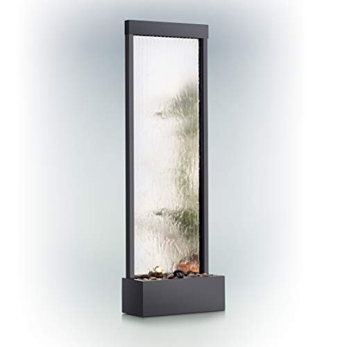 (Alpine Corporation Mirror Waterfall Fountain with Stones and Lights - Zen Indoor/Outdoor Decor for Office, Living Room, Patio, Entryway - 72 Inches)
