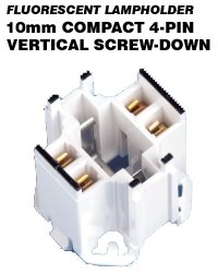 Leviton 26725-411 CFL Lampholder 4-Pin G24q-1, GX24q-1 Base 10W 13W Bottom Screw-Down Vertical Mount - White/Black (Package of 5)
