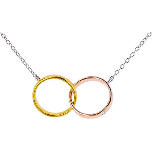 Eleganti Rose and Yellow Gold Plated 925 Sterling Silver Two Circle Necklace Pendant with 0.04ct Natural Diamonds - Silver White Chain Included