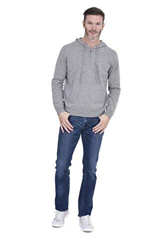 Cashmeren Men's Wool Cashmere Knitted 1/4 Zip Hoodie (Heather Grey, Small)