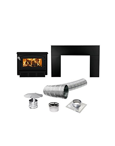 Drolet 60,000 BTU EPA-Certified Escape Fireplace Wood Insert, Metallic Black