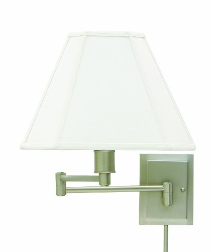 House Of Troy WS16-31 15-1/2-Inch Swing Arm Wall Lamp, Pewter with White Linen Hardback Shade - Manchester One Light Sconce