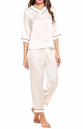 Yall Las Mujeres 'S Pijama Imitación Seda Home Servicio Casual Y Cómoda - Traje De Dos Piezas White