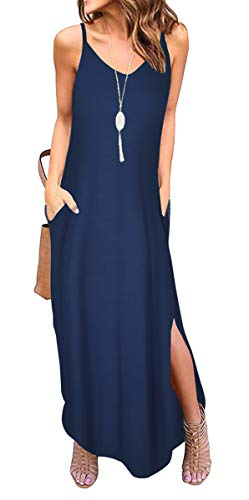 - ZZER Women Casual Summer Loose Long Dress Beach Cover Up Cami Maxi Dresses with Pocket (C3032NavyBlue,L)