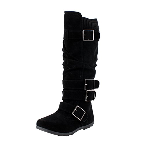 (Womens Bd-2523 Knee High Faux Suede Flat Winter Buckle Boots Black,Black,7)