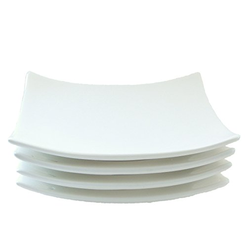 Small Porcelain Candle Plate (set of 4), Square, White, R0737