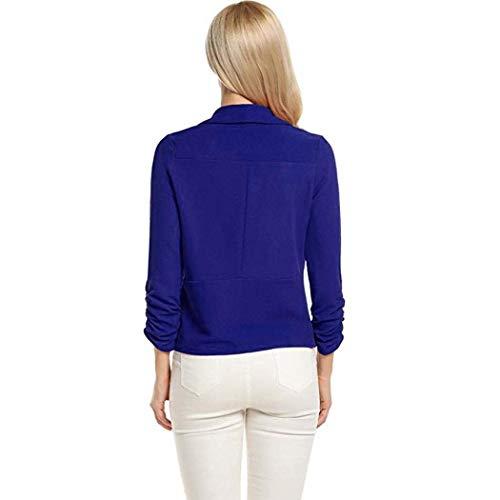 Tailleur Classiche Manica Moda Bavero Di Cardigan Donna Colori Lunga Slim Coat Fit Ragazzi Blau Pieghe Camicia Autunno Business Solidi SXwO11qxI