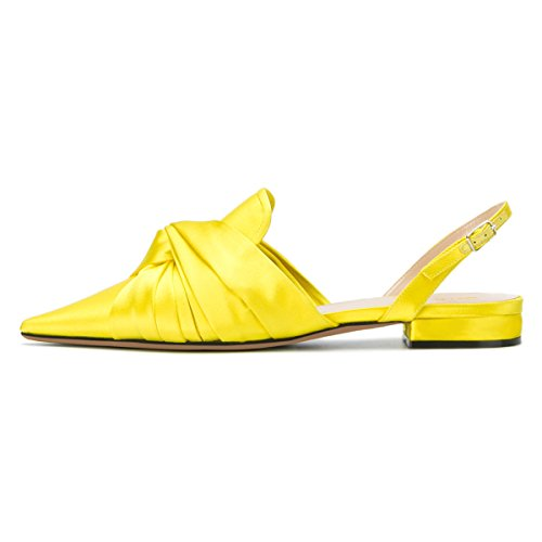 Slingback Low Sandal Shoes Yellow Flats Mule Women Heel Slip D'Orsay XYD Toe Pointed On Slide qw4Atp