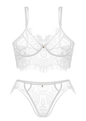 - Lingerie for Women, Sexy Lace Lingerie, Half Cups Babydoll Bralette, G-String Lace Dress White