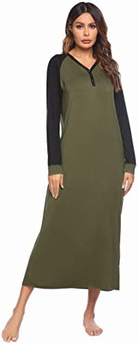 Ekouaer Sleep Shirt Women's Long Sleeve Sleepwear V-Neck Night Dress Nightgown Loungewear S-XXL