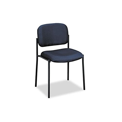 Basyx VL606VA90 VL606 Series Stacking Armless Guest Chair, Navy Fabric
