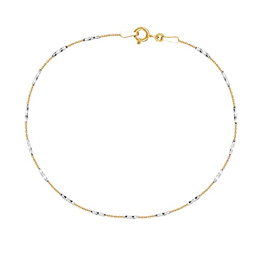 Sterling Silver Two-tone Yellow White Mini Diamond-cut Bar Cable Foot Chain Anklet