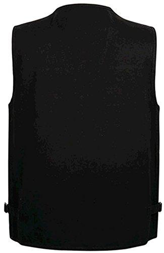 Ws668 Pocket Mens Zipper Manches Sleeveless Multi 1 Rétro Vest Gilet Cotton Pêche Hommes Sans Jacket Noir rqTrU