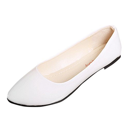 (Challyhope Womens Loafers Comfort Casual Pointed Toe Slip on Low Heel Leather Ballet Flat Walking Office Shoes (7, White))