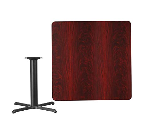- Wood & Style Furniture 42'' Square Mahogany Laminate Table Top with 33'' x 33'' Table Height Base Home Office Commerial Heavy Duty Strong Décor