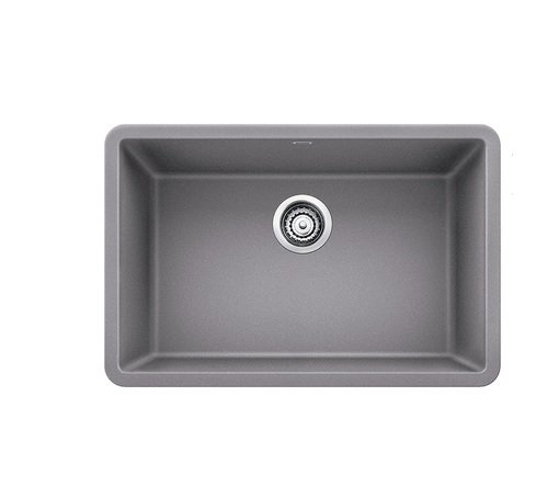 "Blanco 27-27x18 522428 Precis 26-13/16"" Single Bowl Silgranit Undermount Kitchen Sink Metallic Gray, 1 Grey"