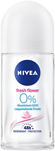 Nivea Deo Roller para mujeres, sin de aluminio, Roll On, Fresh Flower, 6 pack (6 x 50 ml) 80062-01000-28