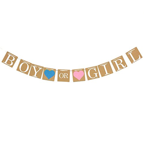 Fulol Boy or Girl Banner Decorations for Baby Shower Gender Reveal Party Pregnancy Announcement -