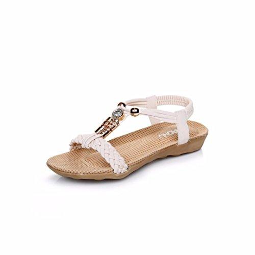 Ouneed® Flip Flops Damen Erwachsene Zehentrenner , Frauen Slipper Sommer wulstige Bohemian Sandelholz Strand Schuhe flache Schuhe Beige