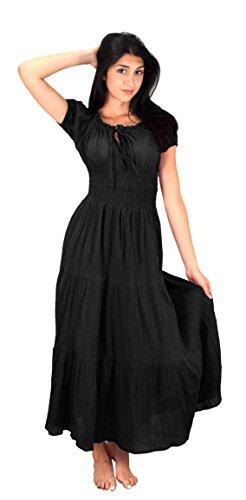 Cotton Peasant Dress - Peach Couture Gypsy Boho Cap Sleeves Smocked Waist Tiered Renaissance Maxi Dress (Medium, Onyx)