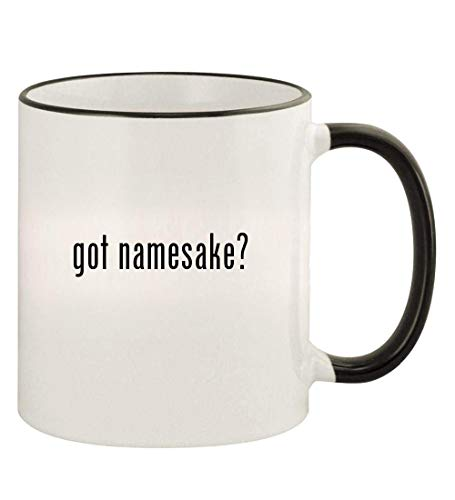got namesake? - 11oz Colored Rim and Handle Coffee Mug, Black
